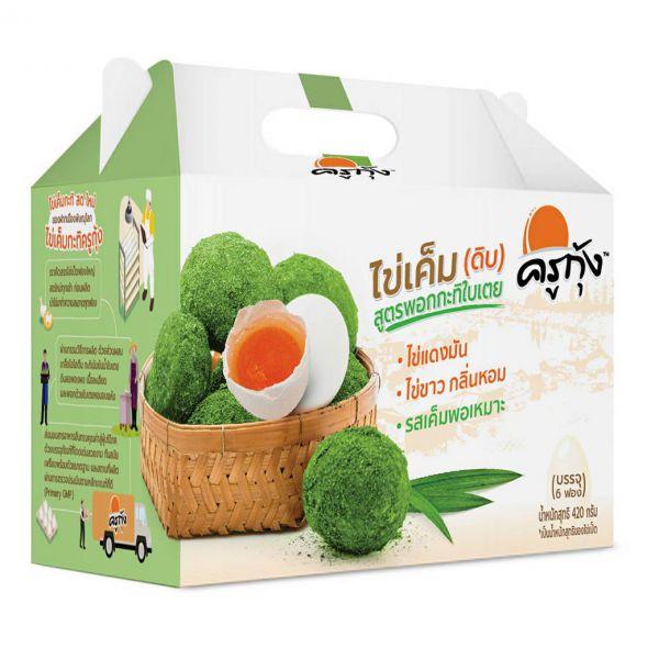 ไข่เค็ม (ดิบ) สูตรพอกกะทิใบเตย